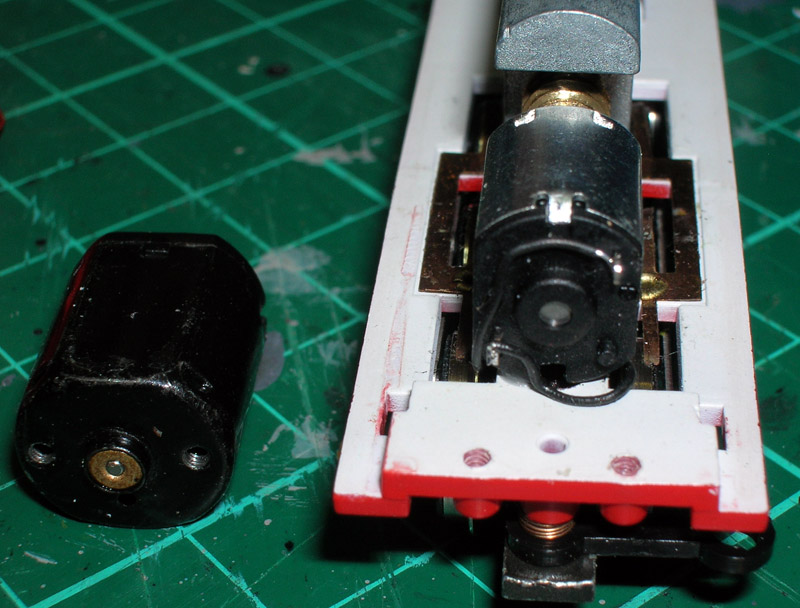 End view of the new motor glued in place and wired up.