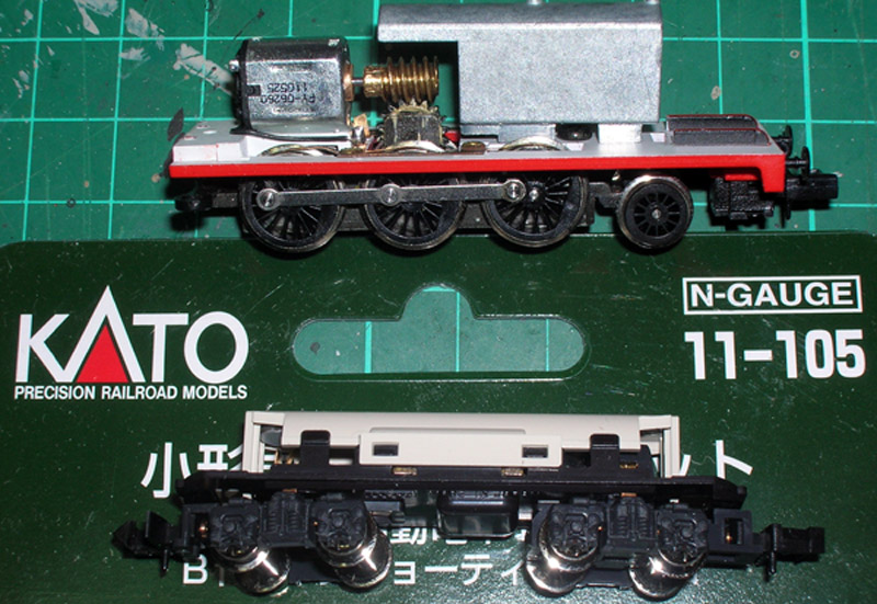 Kato chassis 11-105, also shows the motor from this chassis mounted onto Tomix Thomas.